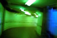 City centre dimly lit pedestrian subway