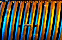Dramatic lighting in heavy industry, steel piece prepared for placement