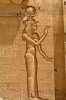 Goddess Isis shown in relief carving at Philae Temple, Aswan, Egypt, North Africa