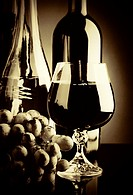 Old wine  Retro still life with wine bottles and goblet
