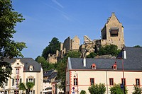 Larochette, Grand Duchy of Luxembourg, Europe  Maison de Crehange medieval castle ruins on a rock outcrop above the town