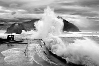 Waves breaking in a storm in San Sebastian,Basque country