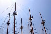 Rigging of a sailing ship, Marmaris, Turkey