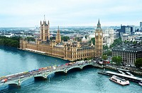 Aerial view of London, Houses of Parliament, London, England, United Kingdom, Europe