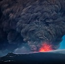 Ash plume from the Eyjafjallajokull eruption Large ash plume with lava from Eyjafjallajokull Volcanic Eruption, April 2010, Iceland  This eruption cre...