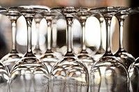 Empty glasses on bar counter
