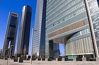 Entrance of Espacio Tower and behind the another three financial buildings, located in Cuatro Torres Business Area of Madrid, Comunidad de Madrid, Spa...