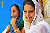 Sikh pilgrim women at Gurudwara Temple in Manikaran