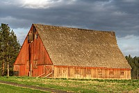 Red barn in northern Spokane, Washington State USA