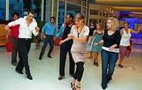 Paris, France, Teenagers Learning, to Dance Salsa, in Class, with female Instructor
