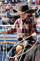 Youths compete in the Fiesta de Los Vaqueros, an annual rodeo in Tucson, Arizona, USA