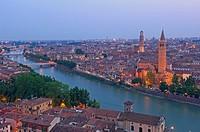 Verona  Santa Anastasia church and Torre dei Lamberti at Dusk  Adige river  Veneto  Italy  Europe.