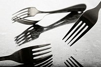 Forks in a film noir style