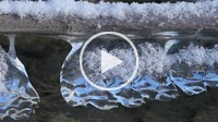 ice at Isar river, Bavaria, Germany