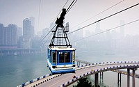 China, Chongqing cityscape with cablecar