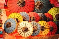 Umbrellas for sale at Luang Phrabang night market. Laos.