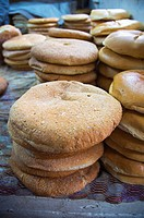 Khobz the Moroccan bread inside covered markets outside Medina old town Tangier Morocco northern Africa