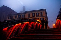 Alzaia Naviglio Grande, Milano Italy -The bridge in the blue hour