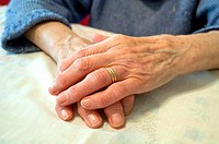 Old woman´s hands. Close view.