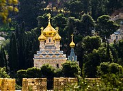 The Russian Orthodox church of Maria Magdalene in Jerusalem.