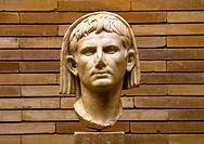 Veiled Head of Emperor Cesar Augustus Roman Art Museum Merida Badajoz Spain