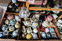 Tea pots and china on display and for sale , Everyday living, street scene , chinatown , bangkok, Thailand