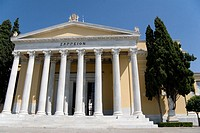 Facade from The Zappeion, designed by the Danish architect Theophil Hansen, in the National Gardens, Athens, Greece