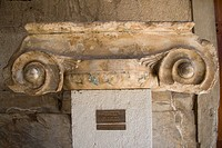 Jonic Column Capital in the Stoa of Attalos, now the museum of Ancient Agora, in Plaka district, Athens, Greece.