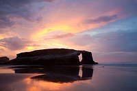 Dusk at beach of the cathedrals - Praia As Catedrais -, Ribadeo, Lugo, Galicia, Spain