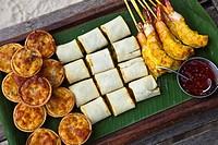 Thai finger food, Hotel Rayavadee, Hat Phra Nang, Krabi, Thailand