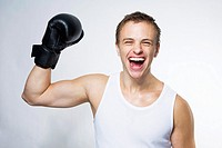 Young Boxer Celebrating