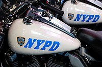 New York Police Department's Harley-Davidson Electra Glide motorcycles parked in Times Square, 42nd Street, Theater District, and elegant and popular ...