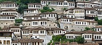 A panorama of the Mangalemi district of Berat with its ottoman period, houses in the old town of Berat in central Albania