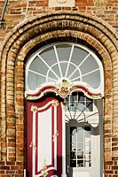 Portal of the historic house, old bailiwick, in the seaside resort Travemuende, Street, front row, , Lübeck, Baltic Sea, Germany, Europe