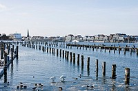 Marina on the Priwall in winter, in the background, historic houses of Travemuende, Schleswig-Holstein, Germany, Europe