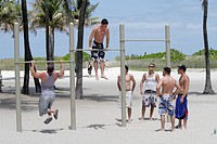 Florida, Miami Beach, Lummus Park, exercise, workout, pull-up bar, dips, muscles, strength, fitness, man, men,