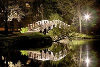 Small bridge over lake at night in Johannapark, Leipzig, Saxony Germany