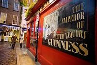 Advertising in a facade of Temple Bar  Dublin, Leinster, Ireland, Europe