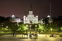 Jackson Square and St  Louis Cathedral at night with horse and carriage waiting for passengers  French Quarter, New Orleans, Louisiana, United States