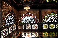 Stained-glass windows inside the Palace of Gold, West Virginia,USA