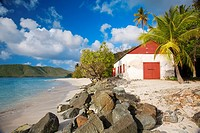 Cinnamon Bay Beach in the Virgin Islands National Park on the Caribbean island of St  John in the US Virgin Islands