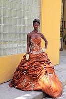 Quinceanera posing Cuban, Havana, Cuba