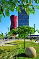 Hotel Porta Fira -left- and Realia tower -right- designed by Japanese architect Toyo Ito, L´Hospitalet de Llobregat, Barcelona province, Catalonia, Sp...