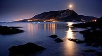 Montaña Oriental Costera under the moonlight, Castro Urdiales, Cantabria, Spain