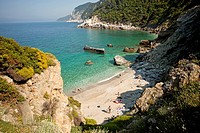 Agios Ioannis beach on the northern coast of Skopelos Island next to the church, Agios Ioannis sto Kastri, Skopelos Island, Northern Sporades, Greece