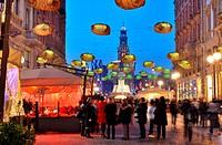 Italy, Milan, Christmas decorations, Castello Sforzesco in background