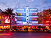 Colony Hotel at dusk, South Beach, Miami