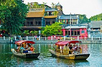 Beijing, CHINA - Old Traditional Neighborhood, the Houhai North Lakes, Hutong, with Tourist Boats