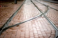 Rotterdam, Netherlands. Trolley car tracks in the streets of down town Rotterdam.