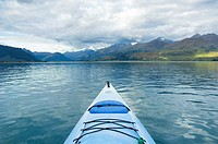 Kayak on lake Wakatipu, Otago, New Zealand
